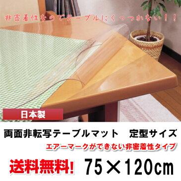 テーブルマット 両面非転写テーブルマット (非密着性タイプ)定型サイズ(75×120cm) 2mm厚 テーブル テーブルマット ビニールマット テーブルクロス 【既製 角落とし すべり止めシール付き】