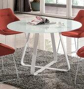 ダイニングテーブルダイニングリビングテーブル机強化ガラス北欧シンプルモダンおしゃれデザイナーカフェ風レストラン事務所丸テーブル