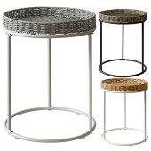 サイドテーブルラタンサイドテーブル幅40cm人工ラタンソファサイドテーブルベッドサイドテーブルラウンド型おしゃれ人気