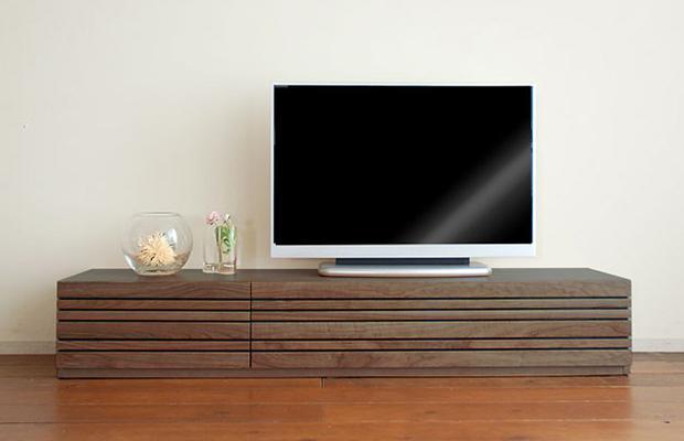テレビ台 テレビボード ローボード ウォールナット ルーバー ローボード テレビボード 幅180cm 完成品  収納 TV台 TVボード TVラック AVボード AVラック(テレビボードのみ、ボックスは別売りです。)(開梱・設置付き):OK家具牧場
