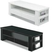 センターテーブルローテーブル幅120cm棚付き引出し付光沢UV塗装収納付収納ホワイトブラックおしゃれ