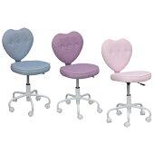 学習チェアハートチェアキャスター付き布学習イス学習椅子いす姫系お姫様子供椅子子供用おしゃれ女の子かわいいピンクブルーパープル