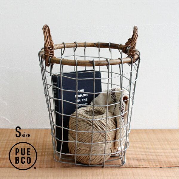 PUEBCO[プエブコ]RATTAN TOP WIRE BASKET(S)[ラタントップワイヤーバスケット 籐 持ち手付 整理 収納 インテリア]☆
