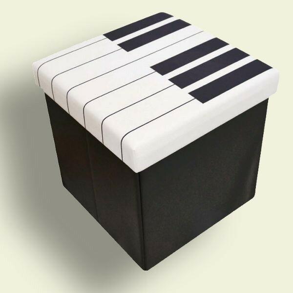YOUKOUHOMEHX033S鍵盤柄スツールボックス椅子収納BOX
