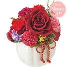 母の日ギフトりりあプリザーブドフラワー【メーカー直送】バラポンポン菊カーネーションあじさいフラワー花レッド赤和風プレゼントお母さん母親贈り物