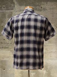 "FREEWHEELERS(フリーホイーラーズ)S/Sオープンカラーシャツ""Eddie""C/L/Rオンブレチェックネイビー×グレー×ライト・グレー"