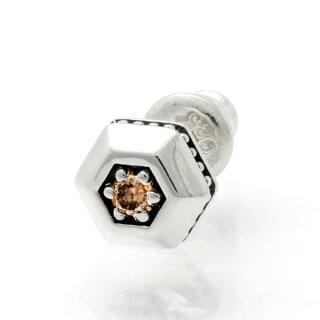 【送料無料】ピアスシルバーシンプルダイヤモンドヘキサゴン燻しメンズアクセサリー