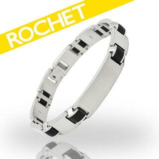 【送料無料】ROCHET/ロシェステンレスブラックシリコンクールスタイリッシュブレスレットメンズプレゼントB032680