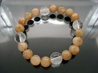 天然石数珠ブレスレット(ルチルクオーツ&水晶・四神)