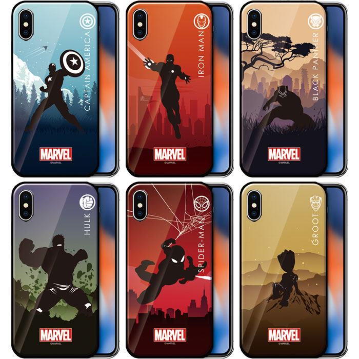 スマートフォン・携帯電話用アクセサリー, ケース・カバー MARVEL Heroic Silhouette Glass iPhone X XS XSMax XR SE 2 8 8Plus 7 7Plus 10 10s 10sMax 10r SE2 Plus