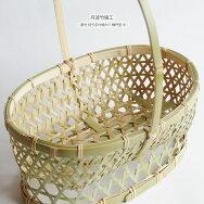 丹波竹細工真竹持ち手付椀かご楕円型中