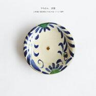 やちむん民藝工房福田福田健治8寸皿中皿コバルト唐草