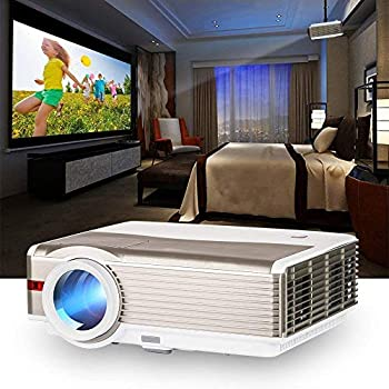 【中古】プロジェクター LED 4200lm 1080PフルHD対応 1920×1200最大解像度 重低音スピーカー内蔵 USB×2/HDMI×2/AV/VGA/3.5mmイヤホンジャック対応 高