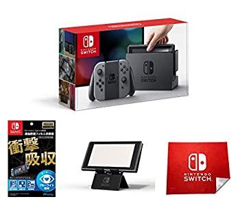 【中古】Nintendo Switch 本体 (ニンテンドースイッチ) (Joy-Con (L) / (R) グレー)(キャンペーンプリペイド番号なし)&液晶保護フィルム多機能付き (任