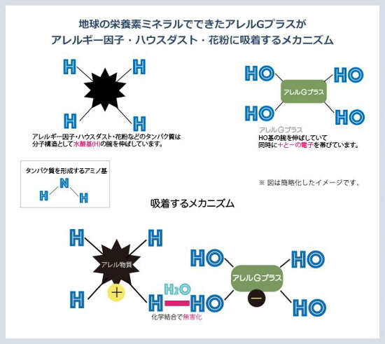 地球の栄養素ミネラルでできたアレルGプラスがアレルギー因子・ハウスダスト・花粉に吸着するメカニズム