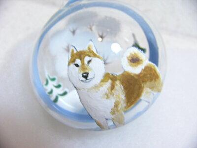 1個1個手描きの素晴らしさ!ガラス玉オーナメント(オーストリア製)柴犬