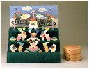 【あす楽対応】小黒三郎・組み木の五月人形・楕円武者三段飾り(特製垂幕・菖蒲)