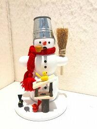 煙だし人形・スノーマンと小鳥【送料無料】ドイツ・エルツ地方・ザイフェン