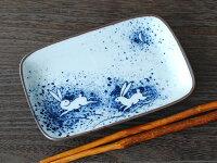 皿角皿銘々皿串皿漬物皿染付藍磁器和器業務用美濃焼国産品うさぎ居酒屋