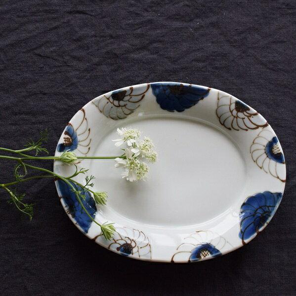 九谷焼九谷青窯高原真由美花尽くし楕円皿│うつわ器皿作家ものの器