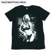 【送料無料】MAO MAO プリントTシャツ セクシーマリリンモンロー ブラックTシャツ メンズ