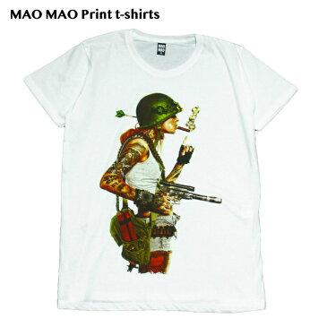 【送料無料】MAO MAO コットンTシャツ プリントTシャツ ホワイト メンズ セクシーガール 女軍人 アーミー おしゃれ ストリート系 クール 半袖 M/L/XLサイズ