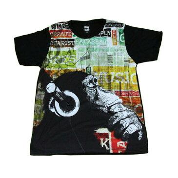 【送料無料】MAO MAO プリントTシャツ ブラック メンズ 猿 チンパンジー アニマル 音楽 ヘッドホン サル 動物 おもしろ デザイン カワイイ おしゃれ ストリート系 カッコイイ クール インナー 柄物 半袖 M/L/XLサイズ