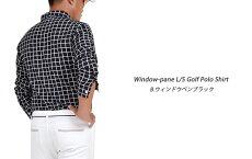ゴルフウエアメンズ長袖ポロシャツゴルフポロ大きいサイズウィンドウペンファッションスタイリッシュストレッチ長袖ゴルフポロシャツ(CG-LP543)トップスゴルフウェアボタンダウン総柄ウィンドペンストレッチゴルフおしゃれゴルフウェアーGolf