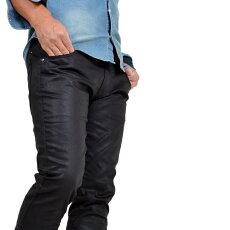 デニムメンズ大きいサイズコーティングジーンズロングパンツパンツ光沢艶感ワイルドストレッチカラバリカジュアルラフデニム大きいサイズサンタリート光沢コーティングストレッチデニム(JI-71341)