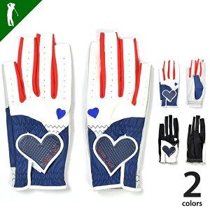 ゴルフ グローブ レディース両手 ネイルカット レディース両手用 ハート 左右セット 手袋 指先カットレディースネイルカット両手用ゴルフグローブ(IF-GF0135)