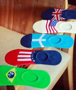 メンズ ソックス カバー 靴下 カラフル オシャレ 国旗柄 5足組  メンズカバー 毎日を彩る ソックス インナーソックス  ソックス アメリカ イギリス ブラジル 国旗 靴下 伸縮性抜群♪ フリーサイズ 25CM〜27CM