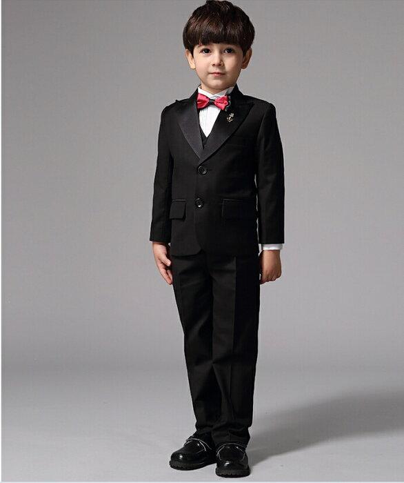 1e39b1a02f165 入学式 卒業式 子供タキシード6点セット(スーツ・ネクタイ・ベストジレー・シャツ・ズボン・ピンスーツ) 結婚式 男児 男の子 フォーマル 子供服(三歳  五歳)