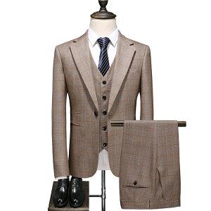 スリーピーススーツ メンズ 秋冬 春物 チェック柄 スーツ メンズ  スリーピース スーツ メンズ シングルスーツ メンズ チェック カーキ ベスト付き 通勤 スリーピーススーツ 3ピース スーツ 大きいサイズ 男性 男の子 ブラウン 大きいサイズ 2019秋新作