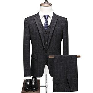 総柄 スリーピース スーツ メンズ ビジネススーツ セットアップ 通勤 チェック スーツセットアップ 3ピーススーツ 40代 50代 60代 ビジネススーツ 紳士 スリーピーススーツ シングル 一つボタン ダークグレー グレー 男性 紳士服 テーラードジャケット