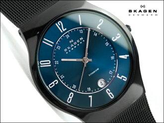 Skagen thin mens watch 233 titanium titanium metallic blue dial universal belt T233XLTMN