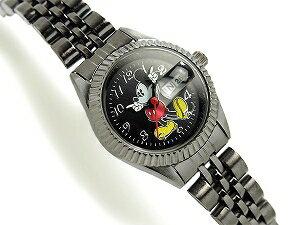 【DISNEYMICKEYMOUSE】ディズニーミッキーマウスレディース腕時計ブラックダイアルガンメタルMCK859