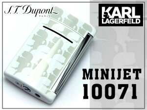 【S.T.Dupont】MINIJETbyKARLLAGERFELDエス・テー・デュポンターボガスライターホワイト×アイボリー10071【送料無料】