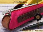 【Orobianco】オロビアンコ3CバックステージXS(ペンケース)無地ナイロンピンク×ブラウンレザー7025551