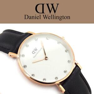 【ダニエルウェリントン】クラッシーシェフィールドクォーツレディース腕時計ホワイトダイアルピンクゴールドケースブラックレザーベルト0951DW【ネコポス】