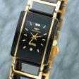 【TECHNOS】テクノス クオーツ レディース 腕時計 ブラック×ゴールド T9796GB