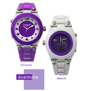 【ColorTwins】カラーツインズリバーシブルウォッチアートARTクォーツデュアルタイムメンズ腕時計AnemoneアネモネKC-14