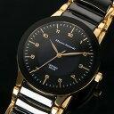【Mauro Jerardi】 マウロジェラルディ ソーラーセラミックシリーズ メンズ腕時計 ブラックダイアル MJ043-1【ネコポス不可】