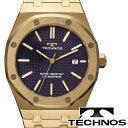 【TECHONOS】テクノス グランドポート クオーツ メンズ アナログ 腕時計 ブラックダイアル ゴールド ステンレスベルト T9539GN