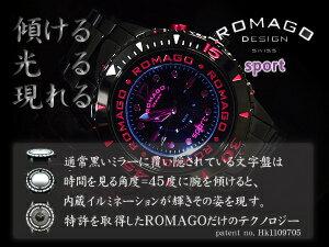 【ROMAGODESIGN】ロマゴデザインSPORTスポーツRM023イルミネーション内蔵ミラーダイアルユニセックス腕時計ピンク×ブラックステンレスベルトRM023-0238SS-PK【正規品】【送料無料】