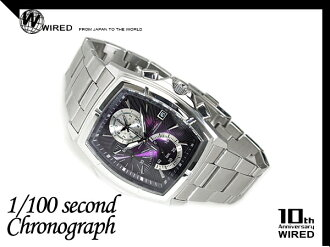 Seiko wired new standard model 1 / 100 sec chronograph men's watch-purple / silver AGAV049