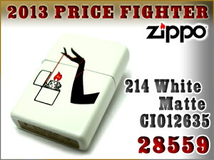 【ZIPPO】ジッポオイルライター片面加工214WhiteMatteCI01263528559ZIP-28559