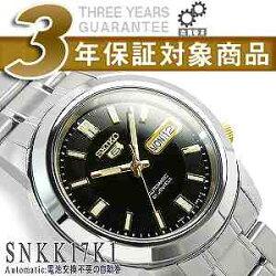 【逆輸入SEIKO5】セイコー5メンズ自動巻き腕時計ブラック×ゴールドダイアルステンレスベルトSNKK17K1