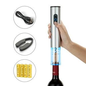 電動ワインオープナー、自動式ワインオープナー、アルミ合金、コードレス フォイルカッター付き、メタリックペイント シルバー 充電式