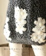 【再入荷♪1月15日12時&22時より】「french」裾にお花をあしらったゆったりニットトップス