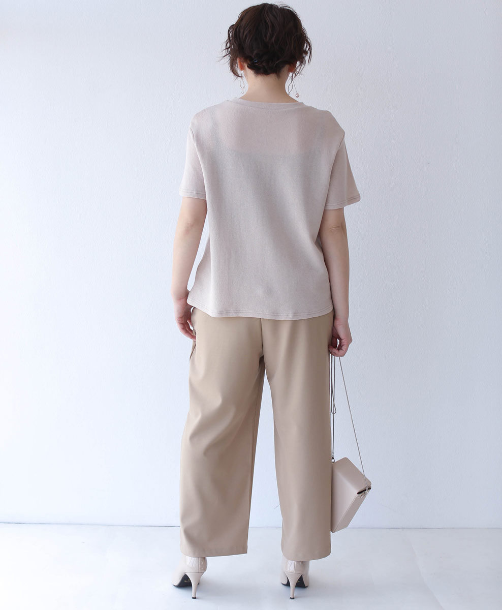 (ベージュ)「cawaii」上品刺繍と立体花のサマーニットトップス4月28日22時販売新作